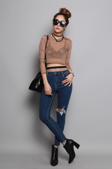 IT-GIRL RIPPED JEANS (DARK DENIM) (PREMIUM) image