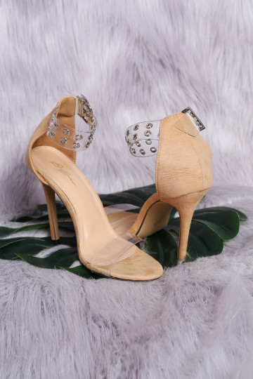 CLEAR PERSPEXTIVE STRAPPY HEELS (NUDE) image