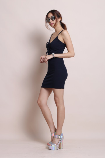 RUN YOUR ERRANDS DRESS (NAVY BLUE) image
