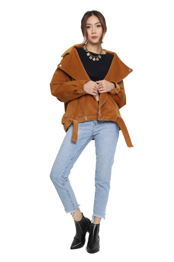 BIG ON SUEDE OVERSIZED MOTO JACKET (GINGERBREAD) (PREMIUM) image