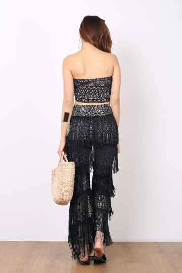 TWINPALMS FRINGE 2-PIECE SET (BLACK) (PREMIUM) image