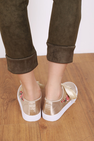 ROSETTE SATIN SNEAKERS (CHAMPAGNE) image