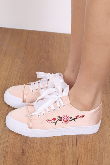 ROSETTE SATIN SNEAKERS (NUDE PINK) image