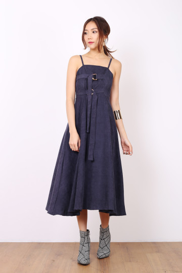 BLAIR CORDUROY BELT DRESS (SPRUCE BLUE) image
