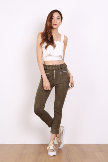 CLASSIC SERENA SUEDE PANTS (STONE GREEN) (PREMIUM) image