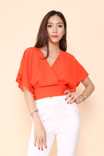 ROSALEEN BACK TIE CROP TOP (SALAMANDA ORANGE)(BACKORDER) image