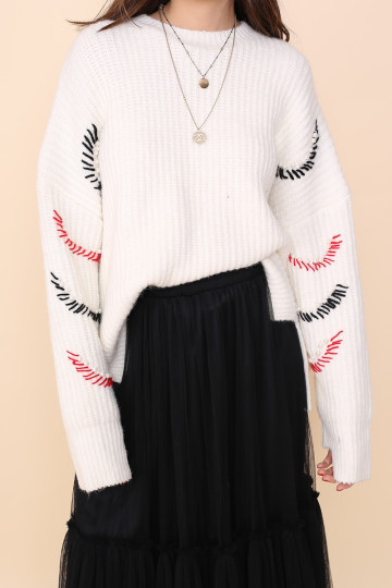 TANYA EYELASH KNITTED TOP (WHITE)(PREMIUM) image