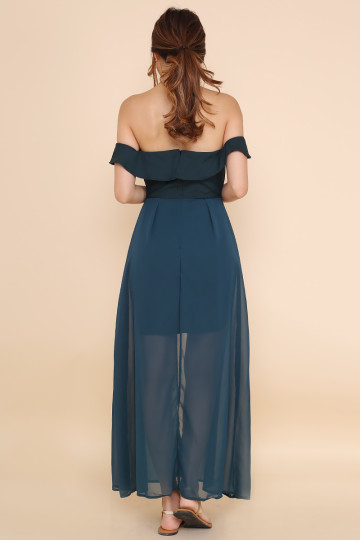 SLEVENE OFF-SHOULDER DRESS (FOREST GREEN) image
