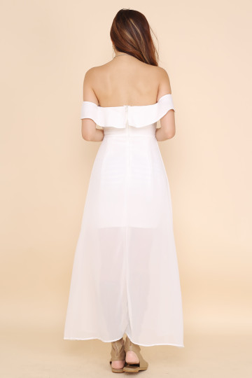 SLEVENE OFF-SHOULDER DRESS (WHITE) image