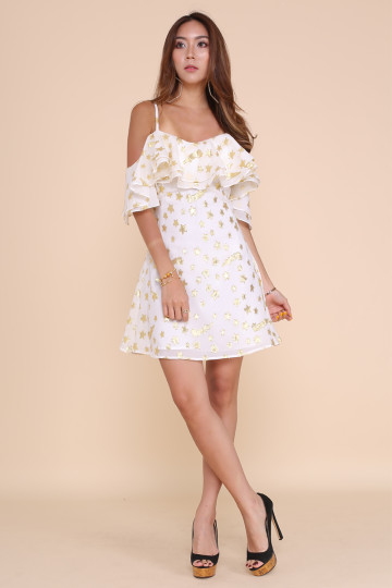 ALL THAT STAR DRESS (WHITE WITH GOLD STARS) image