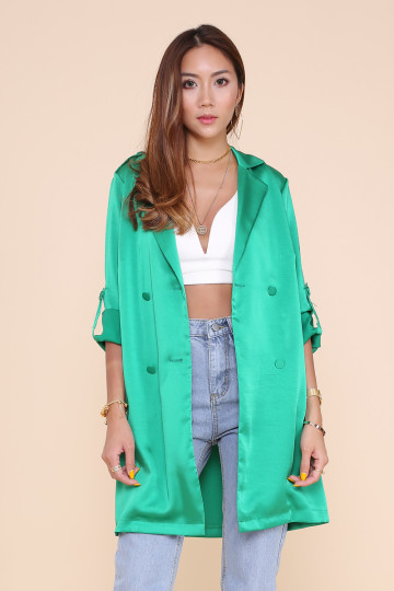 MONTMARTRE LONG SATIN COAT (EMERALD GREEN)(PREMIUM) image