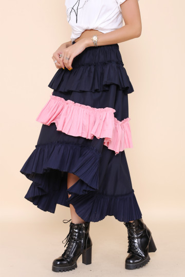CLIMB THE TIER SKIRT (NAVY BLUE) (PREMIUM) image
