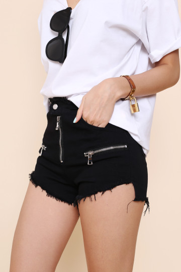ZIP IT RIPPED BLACK SHORTS image
