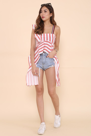 LEIGHTON RUFFLED TOP (STRIPES)(PREMIUM) image