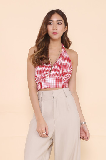 GINGHAM HALTER TOP (RED) image