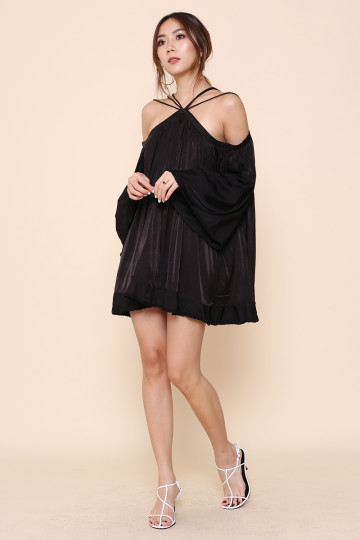 STELLA WEB HALTER DRESS (BLACK)(PREMIUM) image