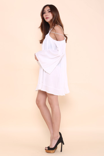 STELLA WEB HALTER DRESS (WHITE)(PREMIUM) image