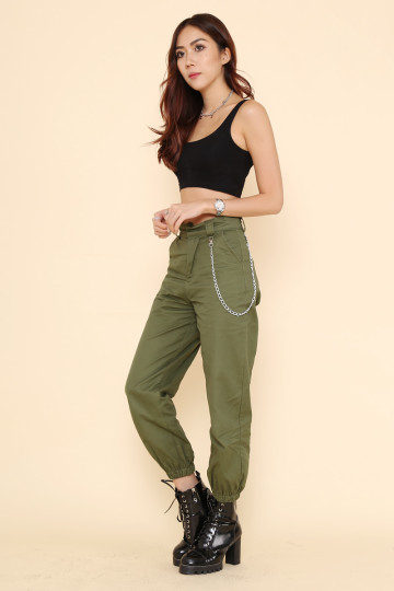 RIA CARGO PANTS (ARMY GREEN) image