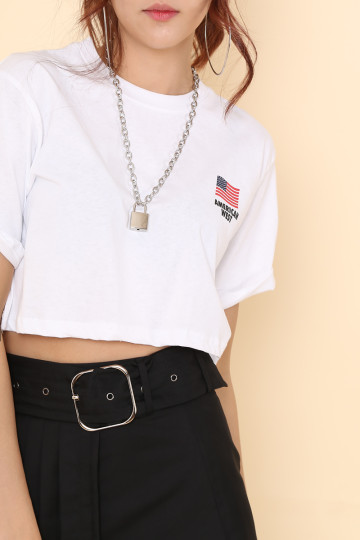 AMERICAN WEST CROP TEE (WHITE) image