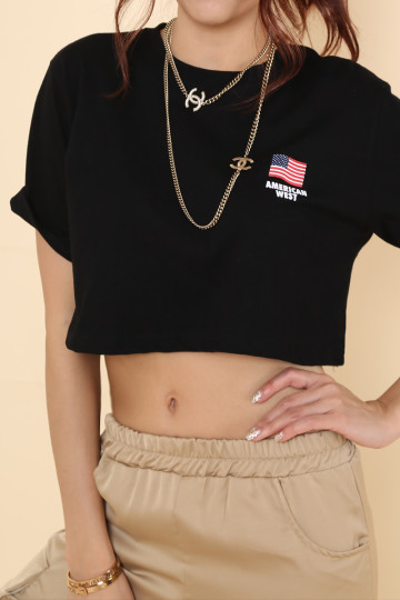 AMERICAN WEST CROP TEE (BLACK) image