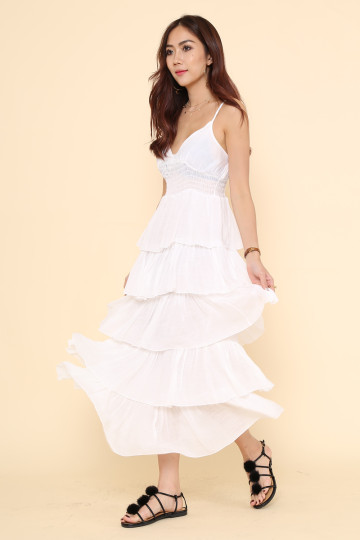 DONNA TIERED DRESS (WHITE) image