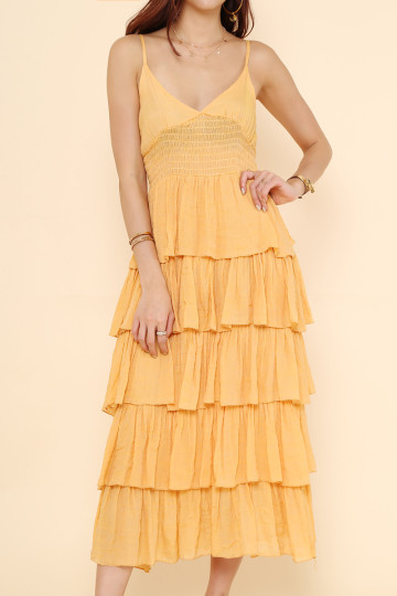 DONNA TIERED DRESS (MUSTARD) image