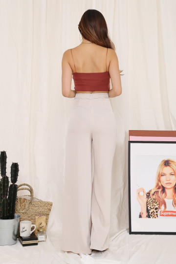 NEEDLE PULLING THREAD TROUSERS (BEIGE)(PREMIUM)(BACKORDER) image