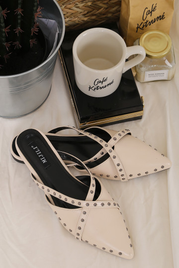 STUD IT MULES (CREAM) (PREORDER) image