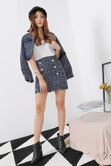 COCO TWEED JACKET (BLUE)(PREMIUM)(BACKORDER) image