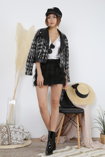 COCO MONOCHROME TWEED JACKET (PREMIUM)(BACKORDER) image