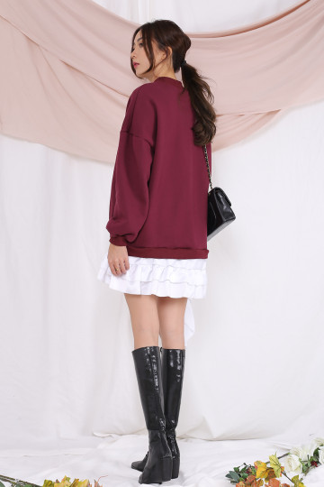 KAYDEN RUFFLED BOTTOM SWEATER (MAROON) image