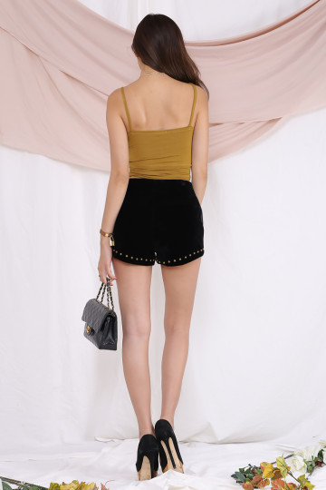 LUCKY STAR STUDDED SHORTS (BLACK) image