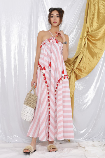 TAHITI HALTER DRESS (PINK STRIPES)(PREMIUM)(BACKORDER) image