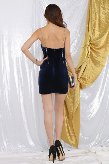 TIARE DIAMANTE VELVET DRESS (MIDNIGHT BLUE)(PREMIUM) image