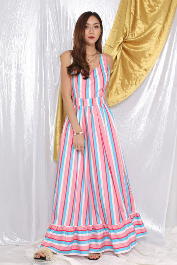 KANDY RAINBOW STRIPE DRESS (PREMIUM)(BACKORDER) image