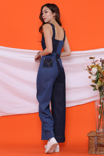 DENIM PATCHWORK JUMPSUIT (PREMIUM)(BACKORDER) image