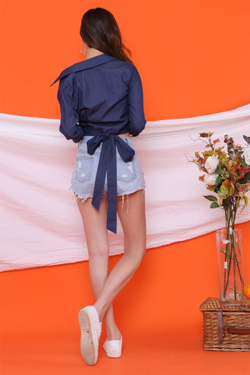 BETTY DENIM TIE-BACK TOP (BLUE) image