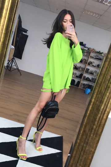 ALY RIPPED LONG SLEEVE TOP (NEON GREEN)(BACKORDER) image