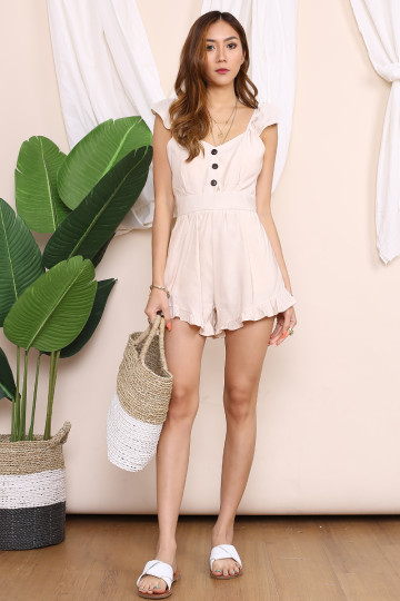 MARY JANE BUTTON UP ROMPER (BEIGE) image