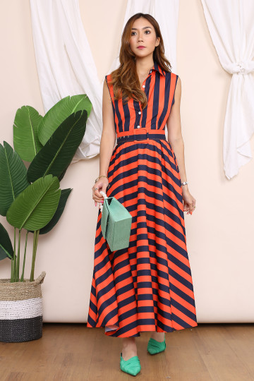 ELLA BIG ON STRIPES DRESS (ORANGE BLUE) image