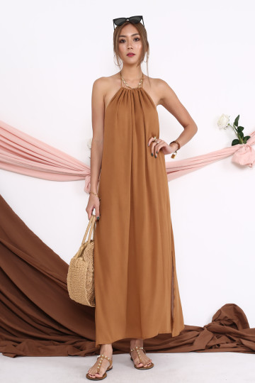 WAKE UP IN ROME MAXI DRESS (COFFEE BROWN)(BACKORDER) image