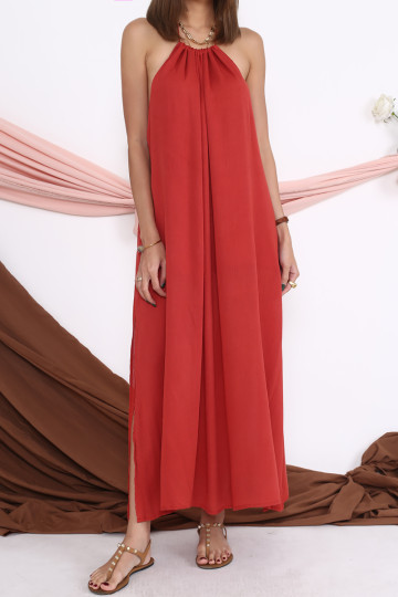 WAKE UP IN ROME MAXI DRESS (RUST)(BACKORDER) image